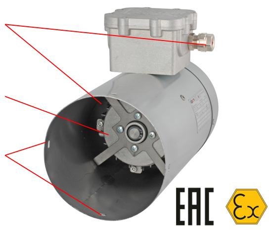 innovari vzryv razrez - Независимая  взрывозащищенная вентиляция OD056B2H2305P4R-PNV090 для охлаждения двигателя в 90 габарите
